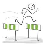 Figur beim Hürdenlauf: Hindernisse überwinden.