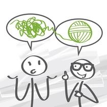 Karikatur: Gespräch zwischen Trainer und Führungskraft